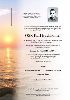 Portrait von OSR BACHHOFNER Karl