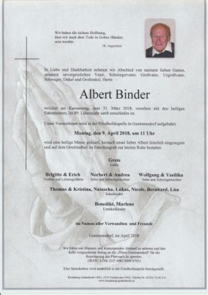 Portrait von BINDER Albert