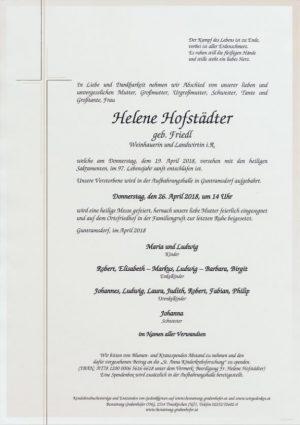 Portrait von HOFSTÄDTER Helene