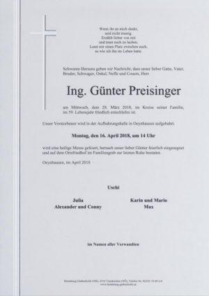 Portrait von PREISINGER Günter Ing.
