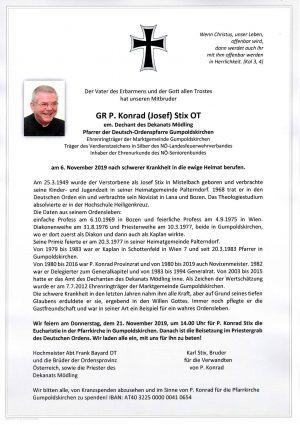 Portrait von GR P. Konrad (Josef) STIX OT